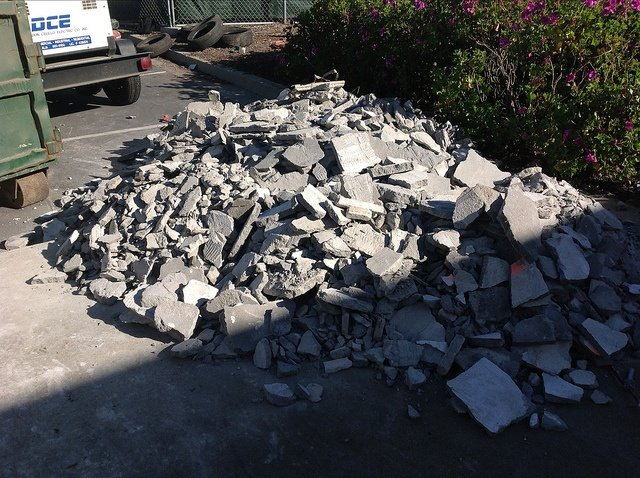 concrete waste is a common straight load, also known as clean fill, for dumpster rental