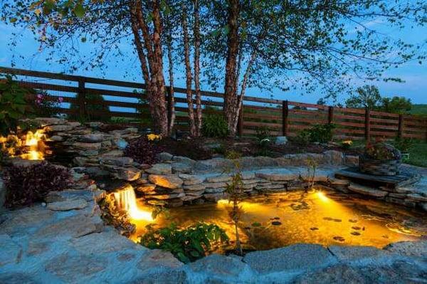 Pond and Stone Albertan Backyard