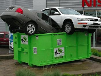 cars in BTDT dumpster rental