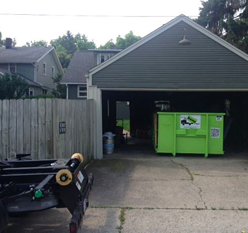 Bin There Dump That dumpster bins snug up conveniently in your driveway.
